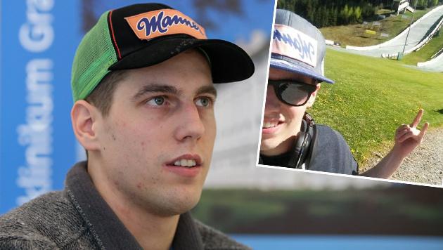 Luki M�ller erstmals wieder auf Skisprunganlage (Bild: GEPA, facebook.com)