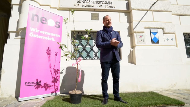 """Matthias Strolz mit einem Bäumchen für die Bildungsministerin: """"Talente sollen blühen."""" (Bild: facebook.com/NeosDasNeueOesterreich)"""