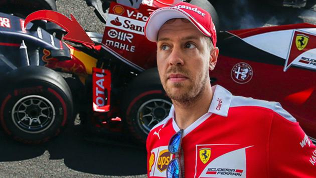 Vettel stinksauer auf Kwjat: Zweimal rausgeboxt (Bild: AP)