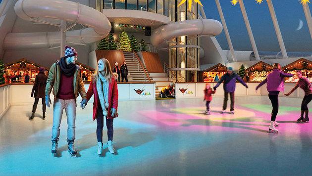 Im Winter wartet ein eigener Eislaufplatz auf die Passagiere. (Bild: AIDA)