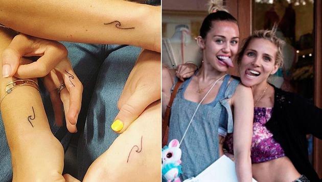 Miley Cyrus und Elsa Pataky haben sich ein Freundschaftstattoo stechen lassen. (Bild: instagram.com/laurenwinzer, Viennareport)