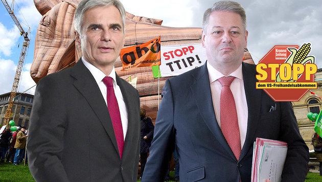 Bundeskanzler Werner Faymann, Umweltminister Andrä Rupprechter (Bild: AFP, APA/GEORG HOCHMUTH, APA/AFP/JOHN MACDOUGALL)