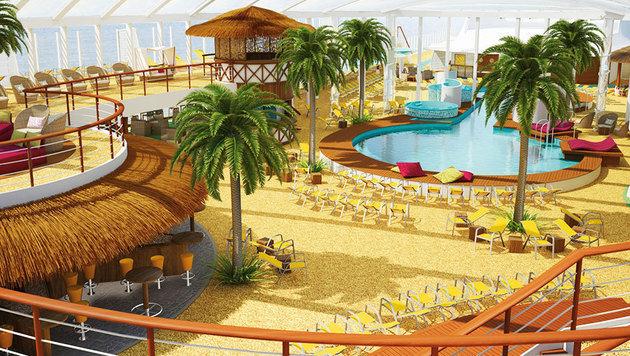 Einen überdachten Beachclub samt Pools - das können nur wenige Schiffe bieten. (Bild: AIDA)