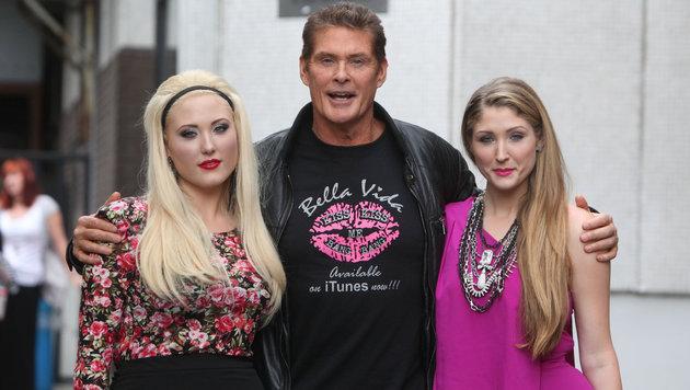 David Hasselhoff mit seinen Töchtern Taylor Ann und Hayley (Bild: www.VIENNAREPORT.at)
