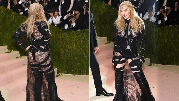 """Madonna versexte mit ihrem Spitzen-Bondage-Fummel den """"Met Ball"""" in New York. (Bild: Evan Agostini/Invision/AP)"""