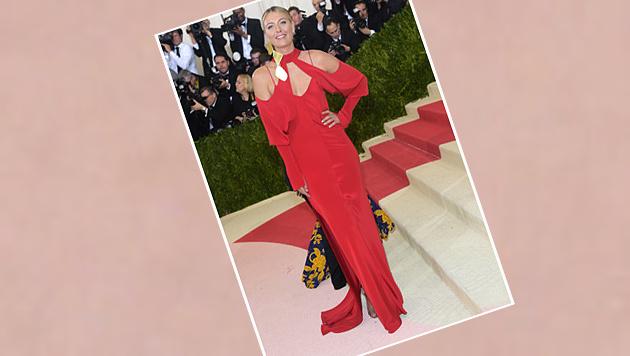 Auf der Met Gala glänzte Maria in feinstem Rot. (Bild: Charles Sykes/Invision/AP)