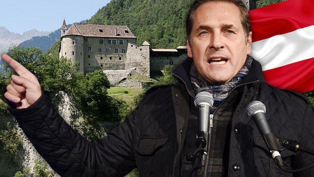 """Strache will """"alte Wunden heilen""""; im Hintergrund das Schloss Tirol bei Meran (Bild: APA/ROBERT PARIGGER, Wikipedia.org, APA/HELMUT FOHRINGER)"""
