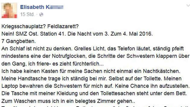 Patientin schildert Horrornacht in Wiener Spital (Bild: Facebook.com)