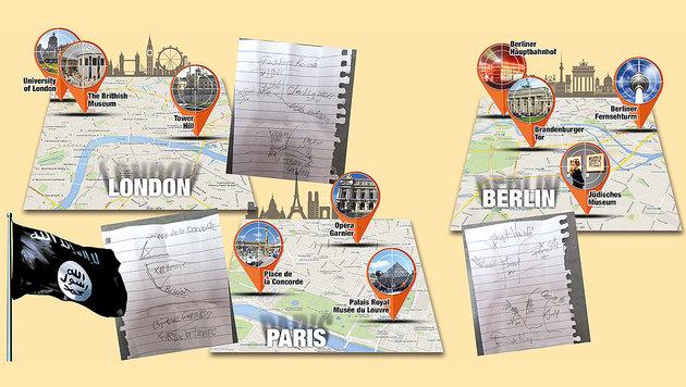Die Skizzen der Pläne für Anschläge in Berlin, London und Paris (Bild: Kronen Zeitung)
