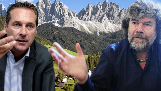 Südtirol-Sager: Messner legt sich mit Strache an (Bild: APA/HERBERT PFARRHOFER, thinkstockphotos.de, APA/ROLAND SCHLAGER)