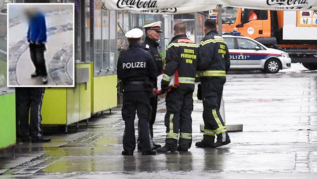 Die Bluttat am Wiener Brunnenmarkt schockiert: Der Täter (links oben) ist ein 21-jähriger Kenianer. (Bild: APA, Screenshot ORF)