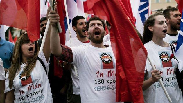 Protest in Athen gegen die geplante Pensionsreform (Bild: AFP)