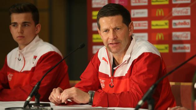 Trainer Andreas Heraf und Valentino Müller (Bild: GEPA)