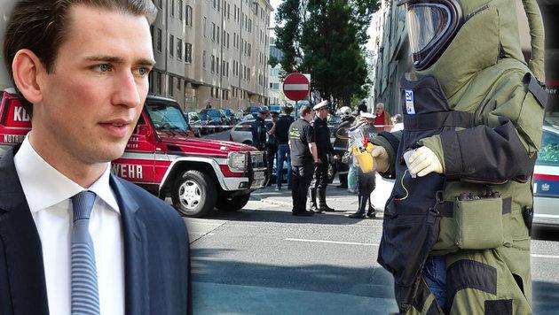 Terroralarm bei Minister Sebastian Kurz in Wien (Bild: APA/AFP/Tobias Schwarz, Klaus Kreuzer, Leserreporter)