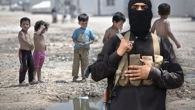 Die IS-Schlächter sollen einen syrischen Buben direkt vor den Augen seiner Eltern erschossen haben. (Bild: AP, twitter.com/Terrormonitor)