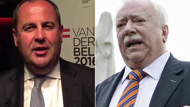 Ex-ÖVP-Chef Pröll und Wiens Bürgermeister Häupl unterstützen Van der Bellen. (Bild: twitter.com/vanderbellen, APA/HANS KLAUS TECHT)