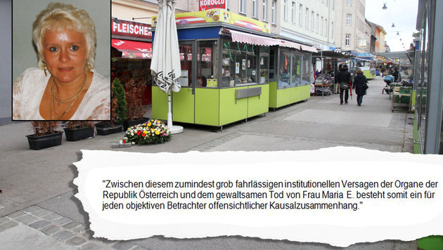 """Auszug aus dem Schreiben der Kanzlei Boran/Heck an die Finanzprokuratur. Kl. Bild: Opfer Maria E. (Bild: """"Krone"""", Andi Schiel)"""