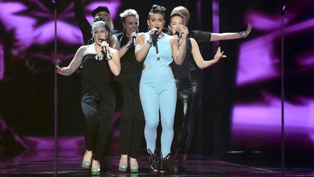 "Sandhja tritt für Finnland mit ""Sing It Away"" an. (Bild: APA/AFP/TT News Agency/MAJA SUSLIN/TT)"