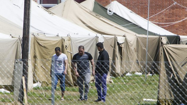 Ungarisches Flüchtlingslager in Körmend nahe der österreichischen Grenze (Bild: EPA)