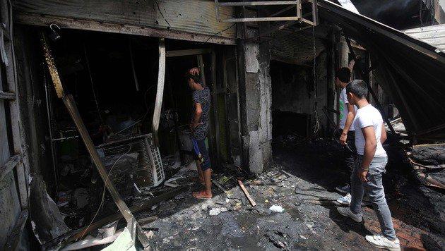 Gro�e Zerst�rung in der N�he der Detonation (Bild: APA/AFP/AHMAD AL-RUBAYE)