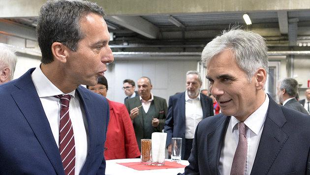 Christian Kern (li.) folgt Werner Faymann wohl als Bundeskanzler nach. (Bild: APA/HERBERT NEUBAUER)
