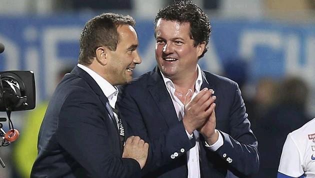 Ungewisse Zukunft: Manager Haas (re.) und Präsident Gruber (Bild: Andreas Tröster)