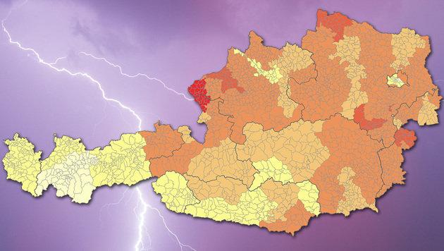 Hagel, Sturm & Co: Hier ist es am gefährlichsten (Bild: APA/dpa/Marc Müller, risikoradar.at, krone.at-Grafik)