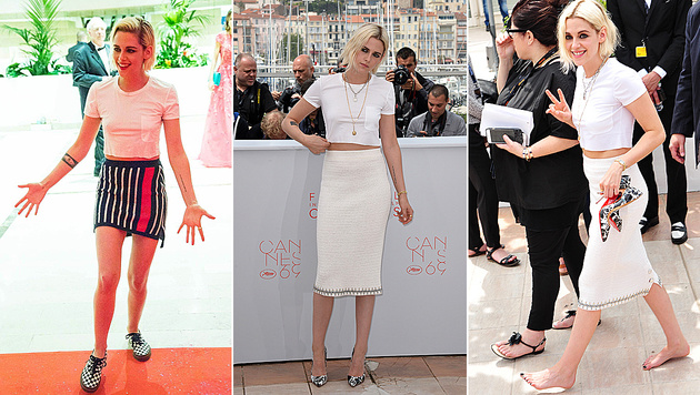 Kristen Stewart pfeift auf High Heels. (Bild: Starpix/Alexander Tuma, APA/AFP/ALBERTO PIZZOLI, face to face)