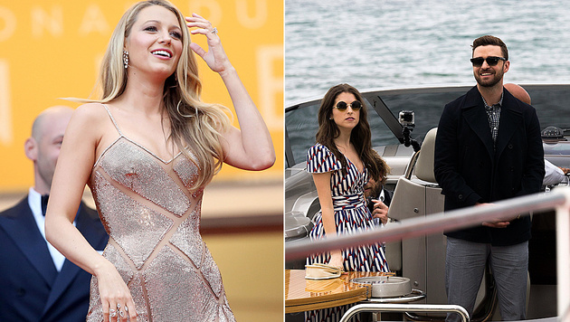 Blake Lively versteckte ihr Babybäuchlein, Justin Timberlake kam im Boot nach Cannes. (Bild: AP, EPA)