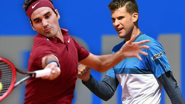 "Sensation in Rom! Thiem besiegt ""König"" Federer (Bild: APA/AFP/CHRISTOF STACHE, APA/AFP/TIZIANA FABI)"