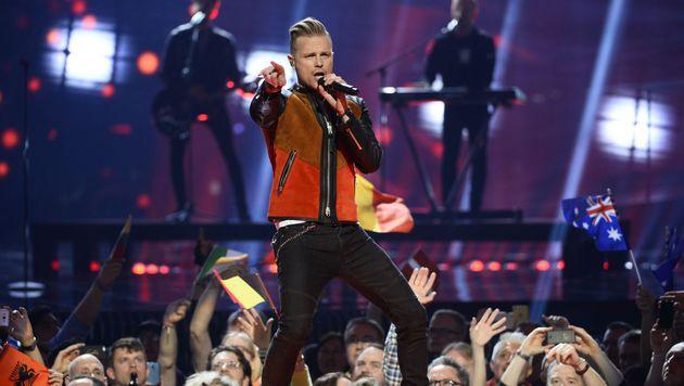 """Irland lässt Feschak Nicky Byrne den Song """"Sunlight"""" singen. (Bild: APA/AFP/TT News Agency/MAJA SUSLIN/TT)"""
