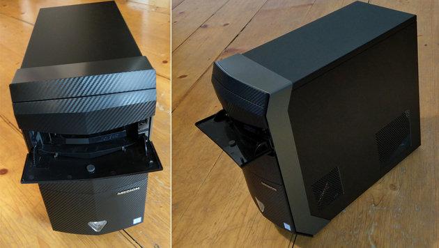 Wichtige Anschlüsse - USB-Ports, Kartenleser, Audio - erreicht man über eine Klappe an der Front. (Bild: Dominik Erlinger)