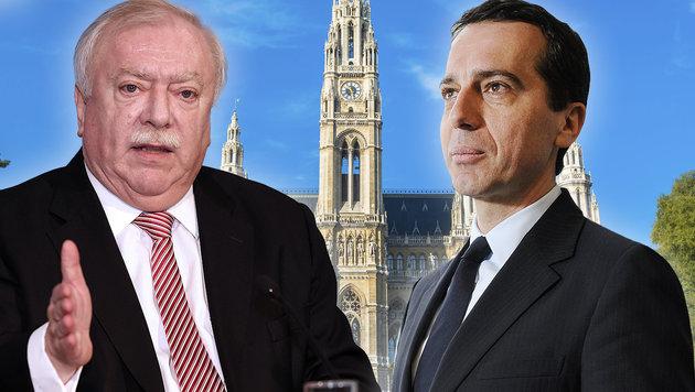 """Auch Wiens Bürgermeister Häupl hat mittlerweile """"große Sympathien"""" für Kern. (Bild: thinkstockphotos.de, Peter Tomschi, APA/Hans Klaus Techt)"""
