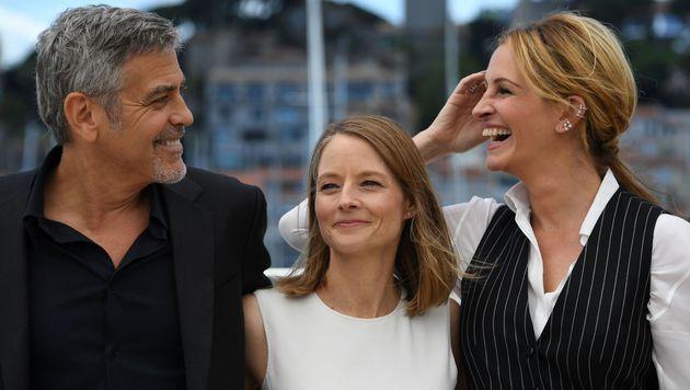 George Clooney, Jodie Foster und Julia Roberts in Cannes (Bild: APA/AFP/ANNE-CHRISTINE POUJOULAT)