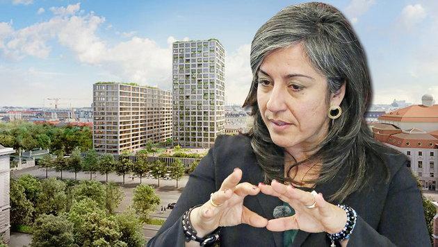 """Stadt-Vize Maria Vassilakou: Das Mega-Bauprojekt """"InterConti"""" soll abgesagt werden. (Bild: krone.at, Martin A. Jöchl)"""