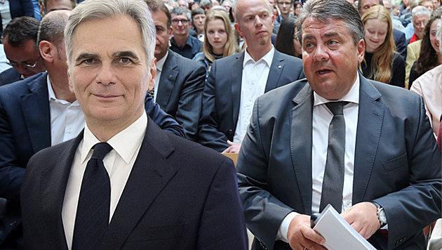 """Faymann-Situation"": SPD-Chef Gabriel unter Druck (Bild: APA/BUNDESHEER/CARINA KARLOVITS, APA/AFP/dpa/WOLFGANG KUMM)"