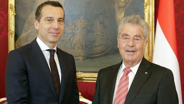 Bundeskanzler Christian Kern und Alt-Bundespräsident Heinz Fischer (Bild: APA/BUNDESHEER/PETER LECHNER)