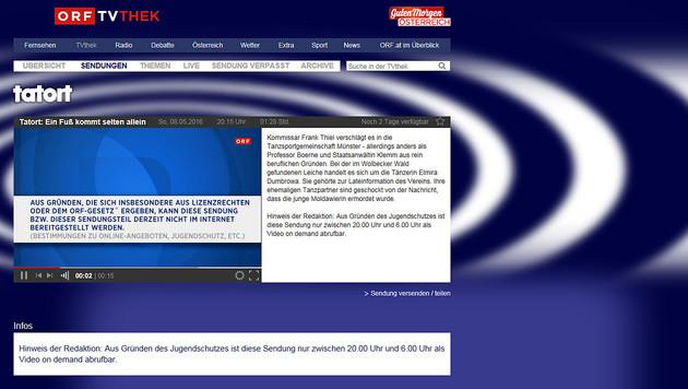 """""""Tatort"""" & Co. in TVthek nur noch nachts abrufbar (Bild: tvthek.orf.at)"""