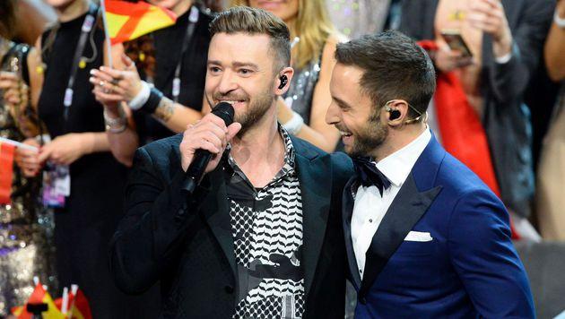 Superstar Justin Timberlake beehrte den Song Contest. (Bild: AFP)