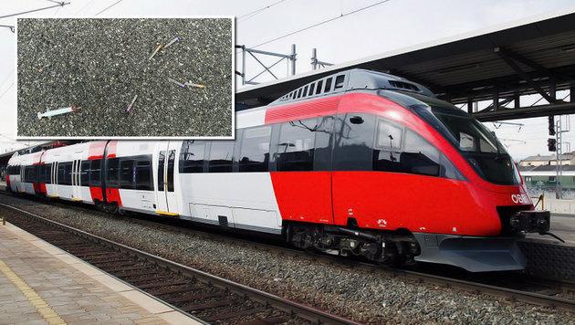 Spritzen auf S-Bahn-Sitz platziert: Frau verletzt (Bild: ÖBB, LPD Wien)