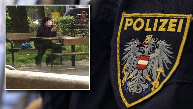 """Eine Schülerin fotografierte den """"Zuckerlmann"""", als er gegenüber der Schule im Park saß. (Bild: APA/HERBERT P. OCZERET (1))"""