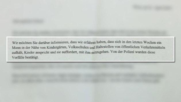 Ein Auszug aus dem Warnbrief der Schule an die Eltern