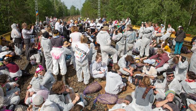 Braunkohlegegner blockierten deutsches Kraftwerk (Bild: AP)