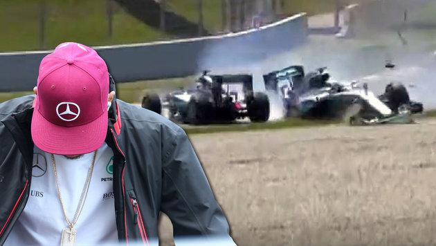 Krieg der Sterne: Hamilton und Rosberg crashen (Bild: YouTube.com, GEPA)