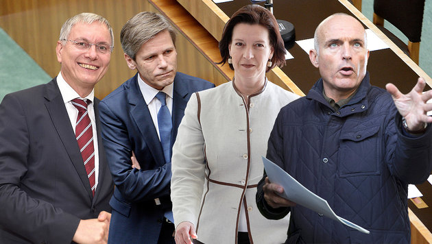 Rote Wackelkandidaten: Stöger, Ostermayer, Heinisch-Hosek, Klug (Bild: APA, APA/BMVIT, APA, EPA)