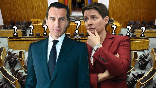 Wer nimmt neben Kern auf der Regierungsbank Platz? Sonja Wehsely (re.) jedenfalls nicht. (Bild: APA/BARBARA GINDL, APA/HELMUT FOHRINGER, EPA/SABINE HAUSWIRTH)
