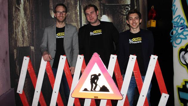 """""""Crime Runners""""-Gründer: Stefan Tauchhammer, Lukas Rauscher und Steffen Volkmer (Bild: Stefanie Riegler)"""