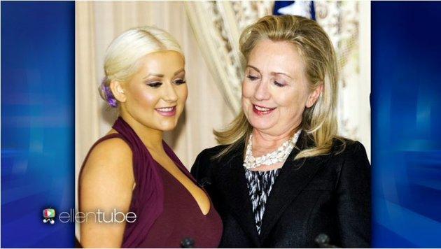 Christina Aguilera und Hillary Clinton (Bild: ellentube)