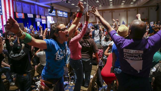 Ausschreitungen von Sanders-Anhängern in Nevada (Bild: AP)