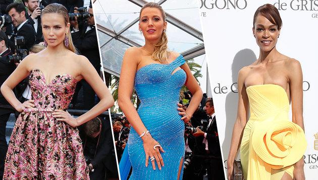 """Natasha Poly (l,.), Blake Lively (Mitte) und Godeliv Van den Brandt (r.) am """"Laufsteg Cannes"""" (Bild: ASSOCIATED PRESS, APA/EPA/IAN LANGSDON, Viennareport)"""